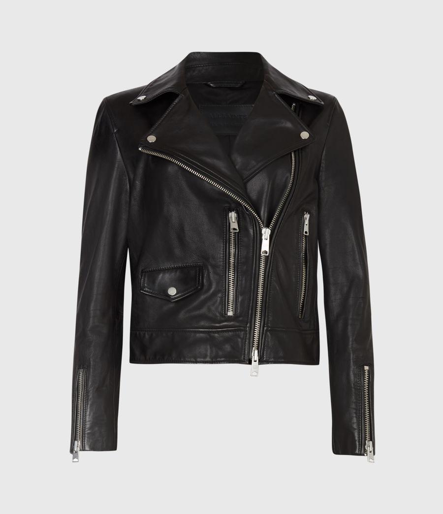 Womens Kara Leather Biker Jacket (black) - Image 2