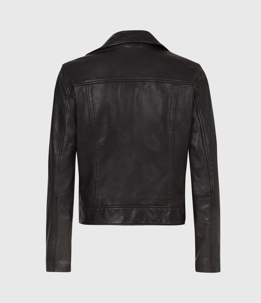 Womens Kara Leather Biker Jacket (black) - Image 3