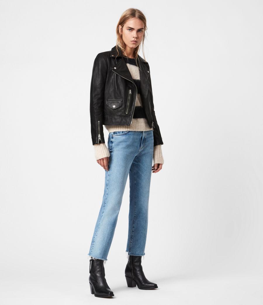 Womens Kara Leather Biker Jacket (black) - Image 4