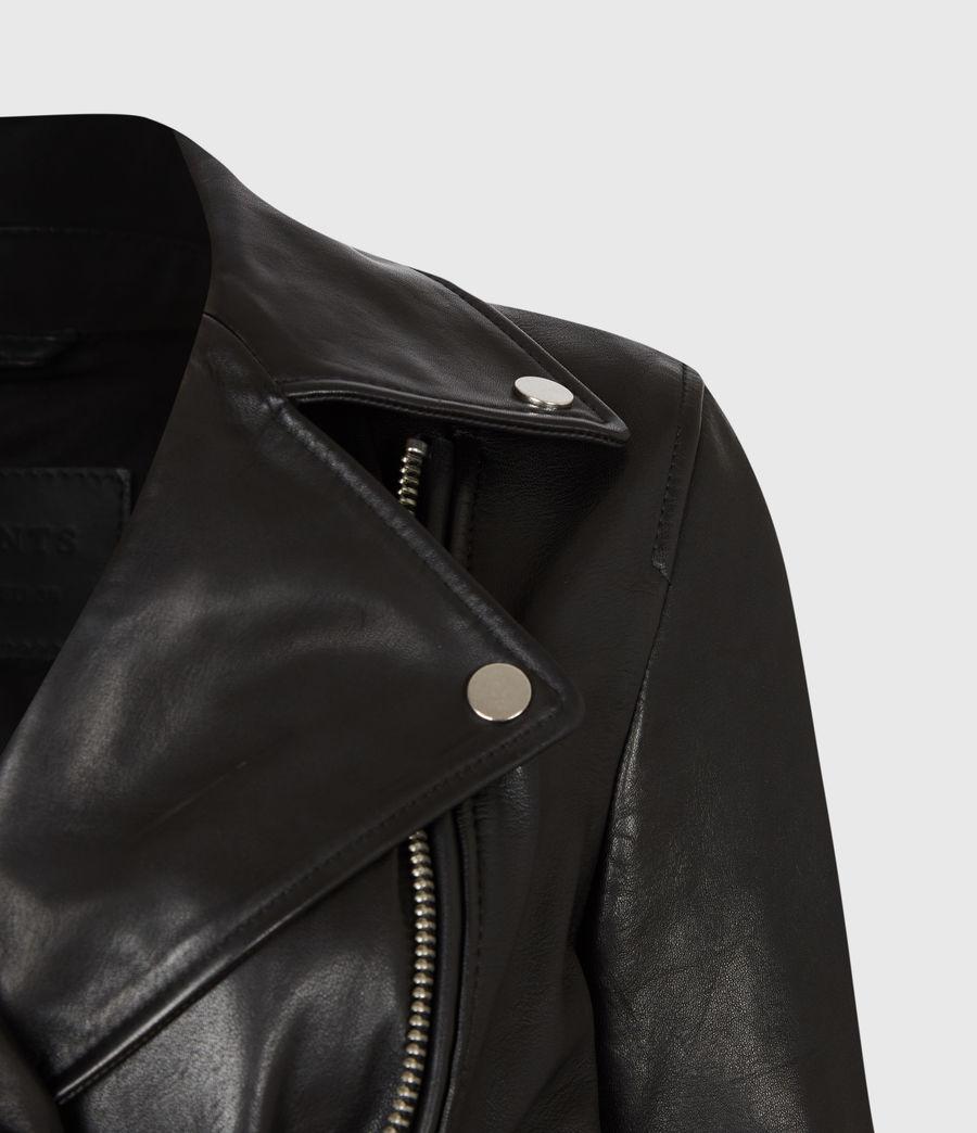 Womens Kara Leather Biker Jacket (black) - Image 5