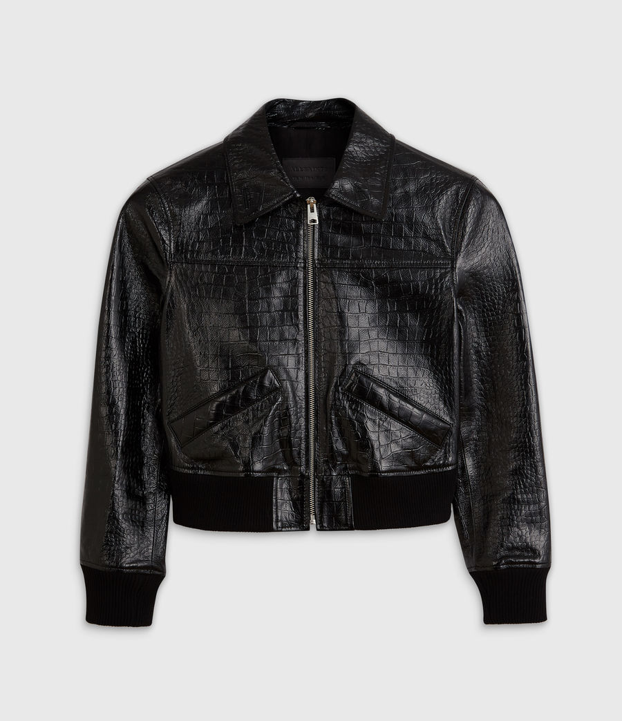 Women's Pascao Ali Leather Bomber Jacket (black) - Image 7