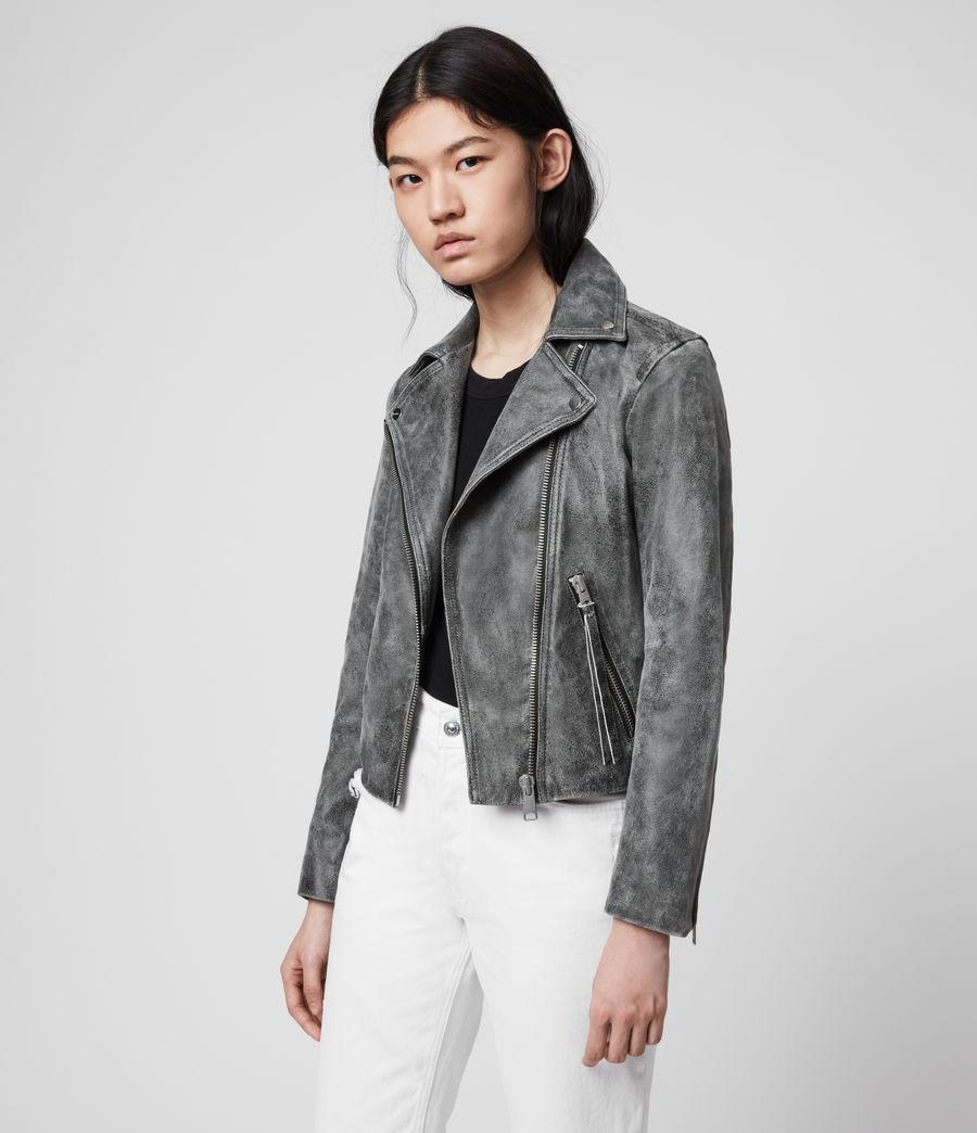 Womens Dalby Iris Leather Biker Jacket (black) - Image 1