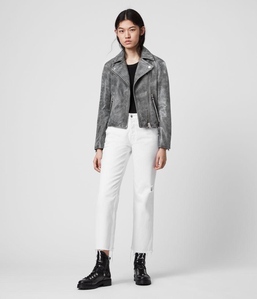 Womens Dalby Iris Leather Biker Jacket (black) - Image 3