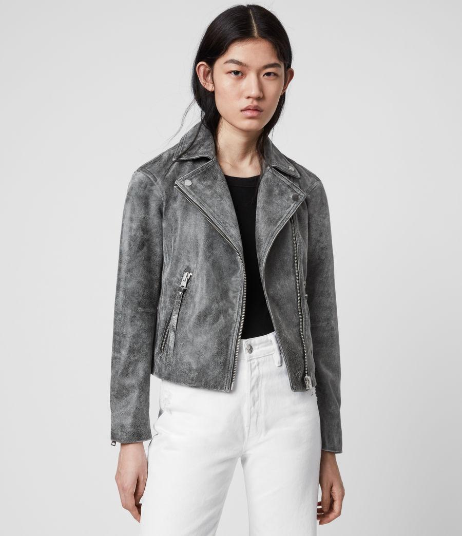 Womens Dalby Iris Leather Biker Jacket (black) - Image 4