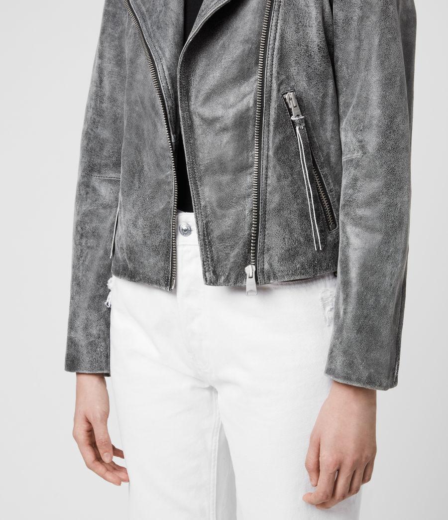 Womens Dalby Iris Leather Biker Jacket (black) - Image 5