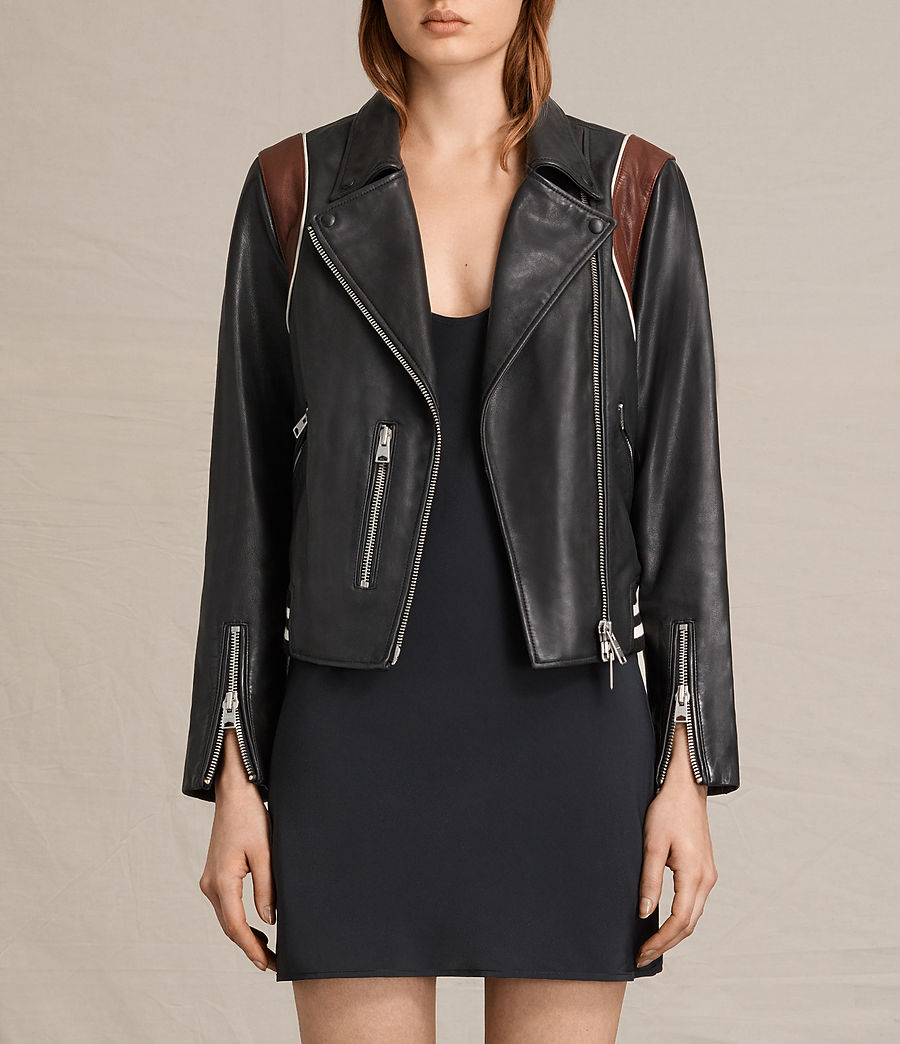 Womens Panel Balfern Leather Bomber Jacket (black_bordeaux) - Image 1