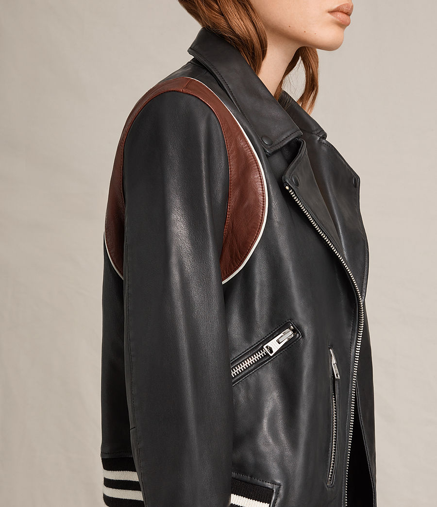 Womens Panel Balfern Leather Bomber Jacket (black_bordeaux) - Image 3