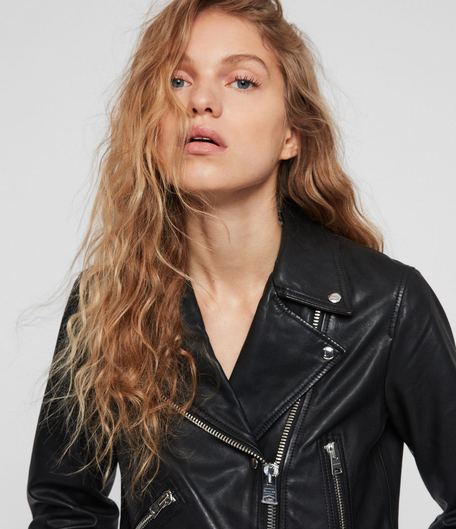 Women's Brody Leather Biker Jacket (black) - Image 2