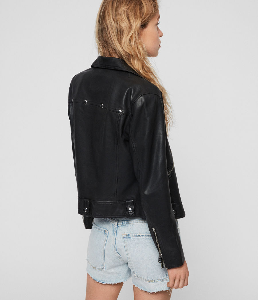 Women's Brody Leather Biker Jacket (black) - Image 5