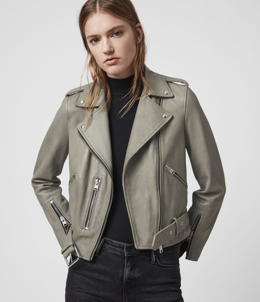 Women's Balfern Leather Biker Jacket (duck_egg_blue) - Image 1