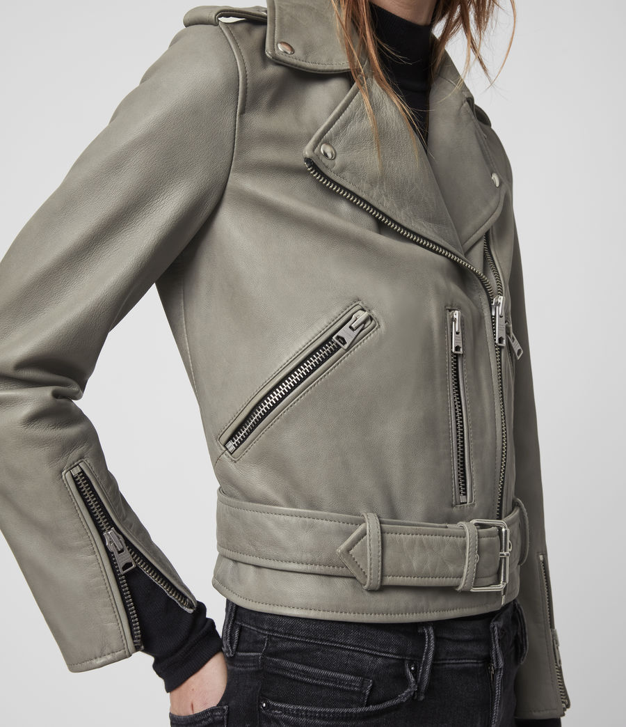 Women's Balfern Leather Biker Jacket (duck_egg_blue) - Image 5
