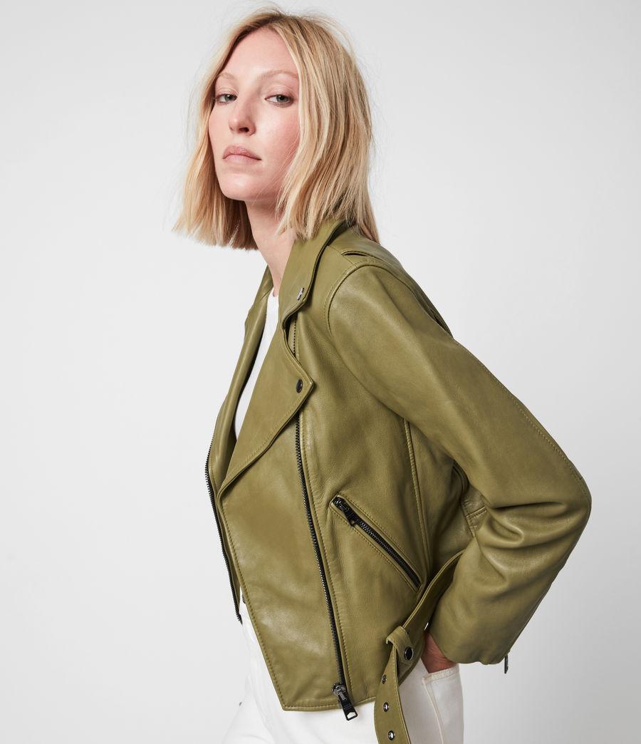 Femmes Perfecto en Cuir Griffen (moss_green) - Image 4