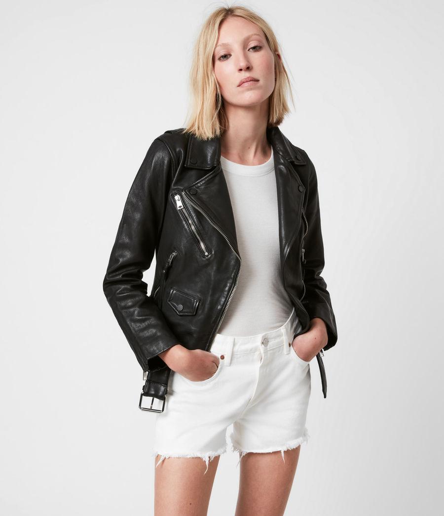 Women's Griffen Leather Biker Jacket (black) - Image 1
