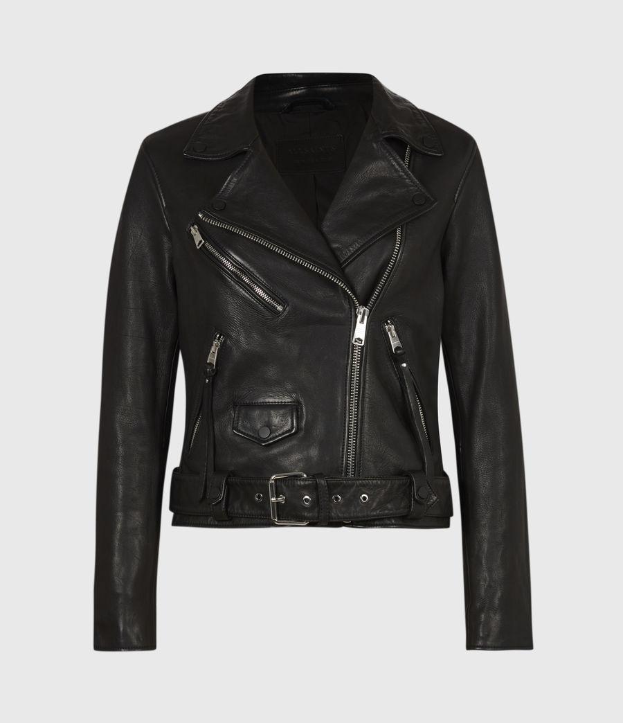 Women's Griffen Leather Biker Jacket (black) - Image 2