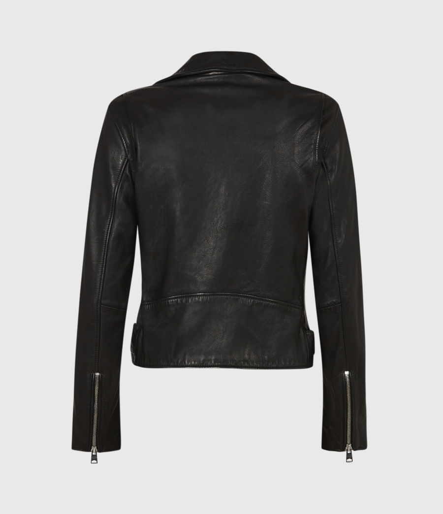 Women's Griffen Leather Biker Jacket (black) - Image 3
