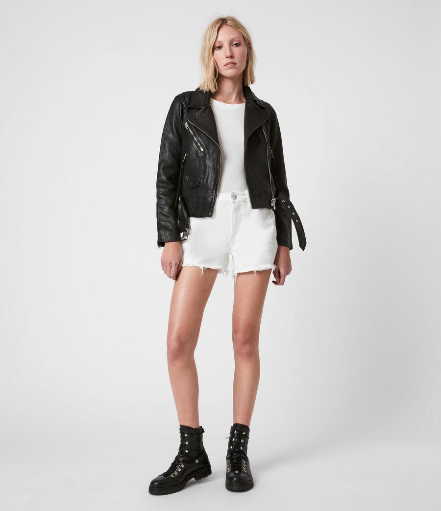 Women's Griffen Leather Biker Jacket (black) - Image 4
