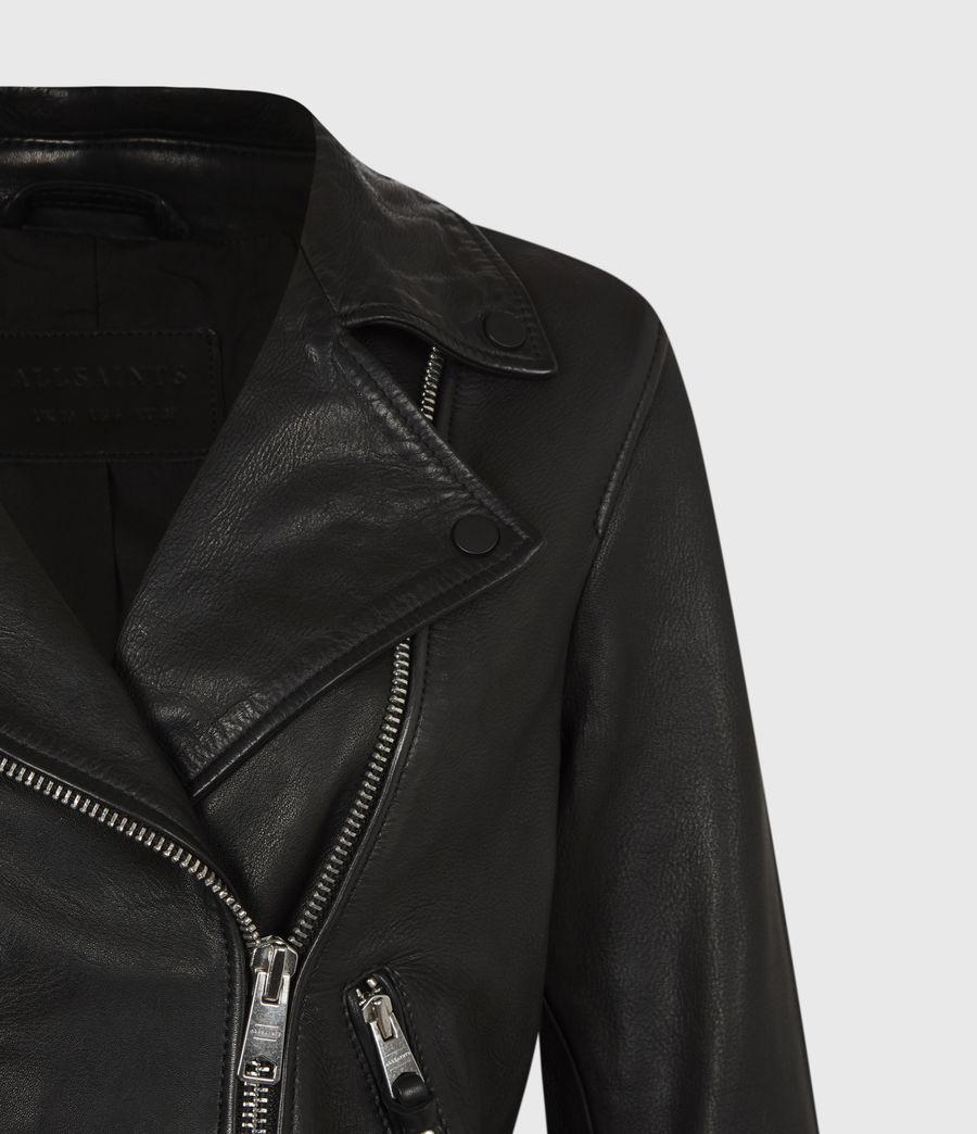 Women's Griffen Leather Biker Jacket (black) - Image 5