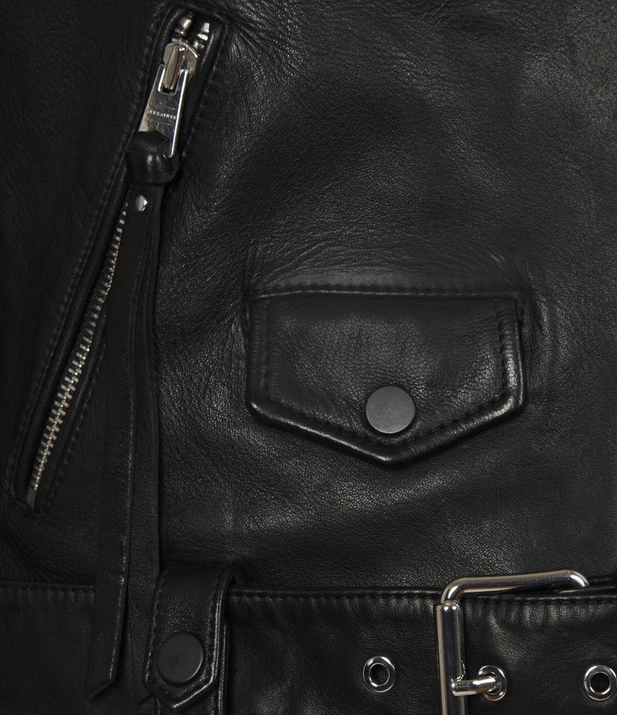 Women's Griffen Leather Biker Jacket (black) - Image 6