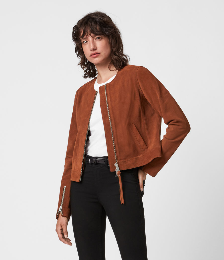 Women's Aster Suede Jacket (tan_brown) - Image 1