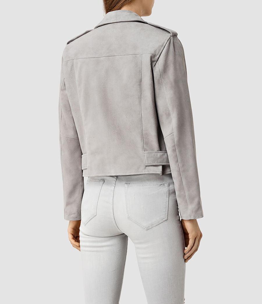 Womens Plait Balfern Suede Biker Jacket (light_grey) - Image 3