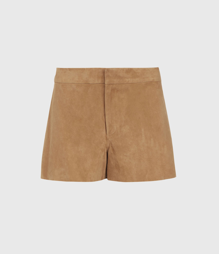 Women's Calix Low-Rise Suede Shorts (tan_brown) - Image 1