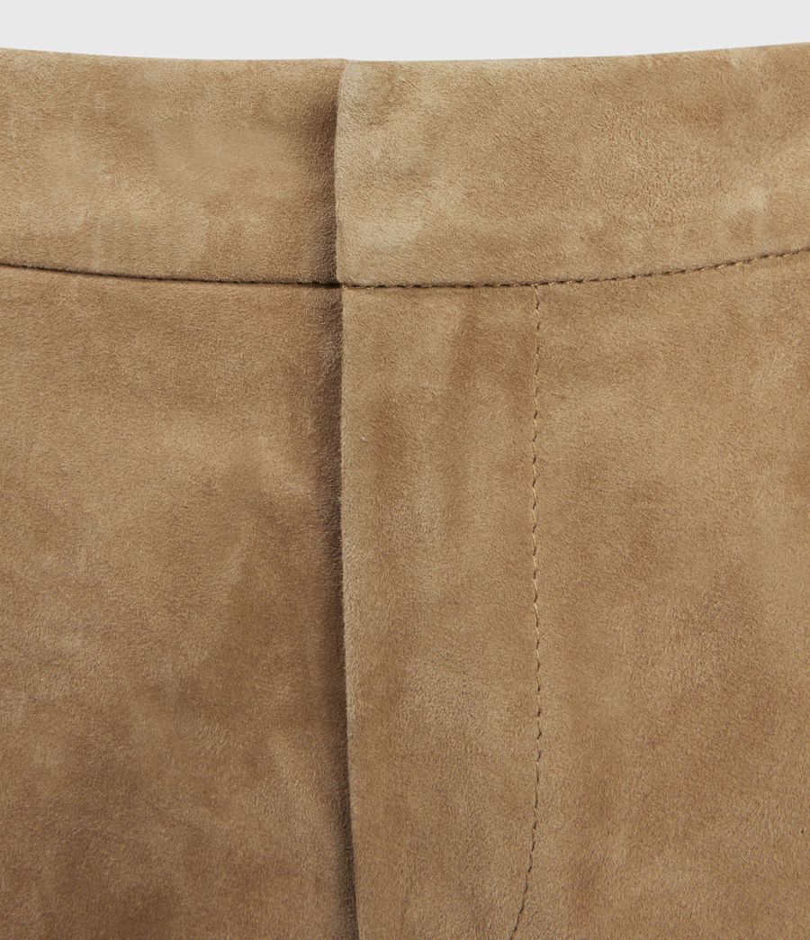 Women's Calix Low-Rise Suede Shorts (tan_brown) - Image 3