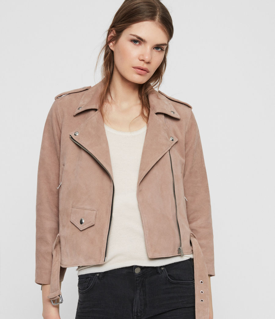 Womens Layla Suede Biker Jacket (fig_pink) - Image 1