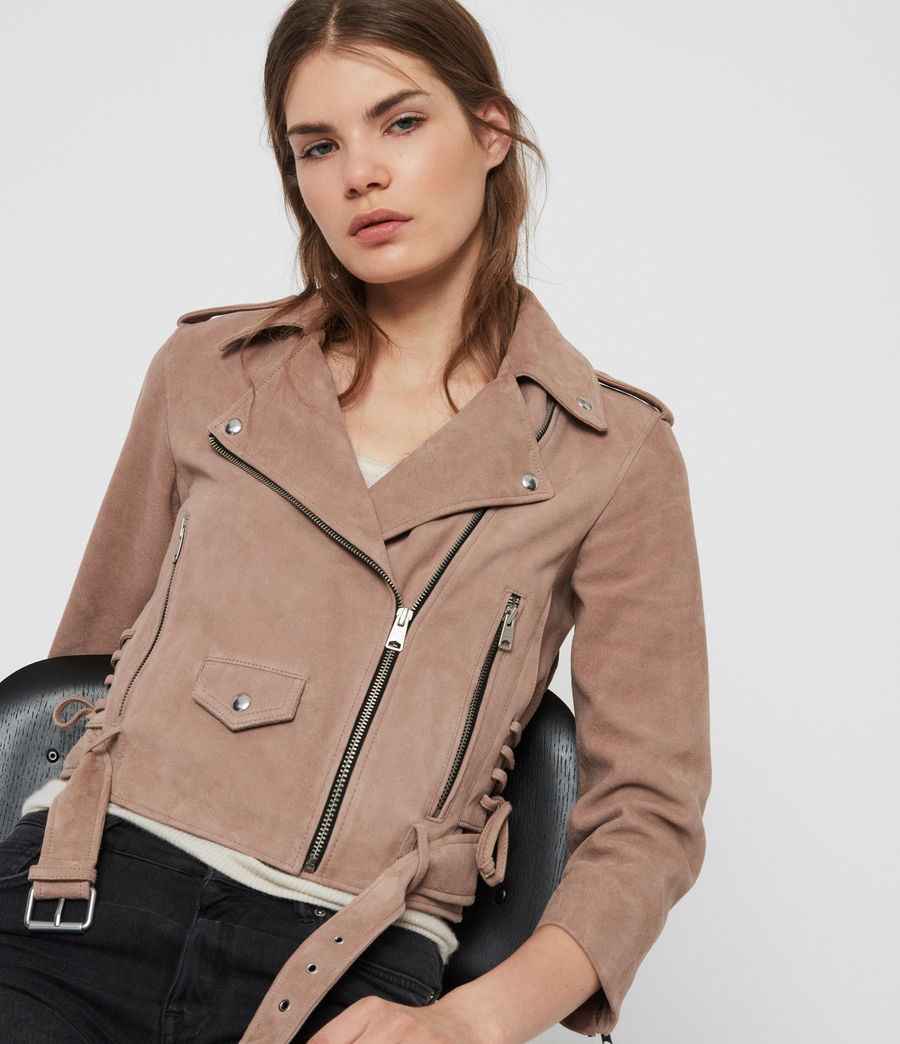 Womens Layla Suede Biker Jacket (fig_pink) - Image 2