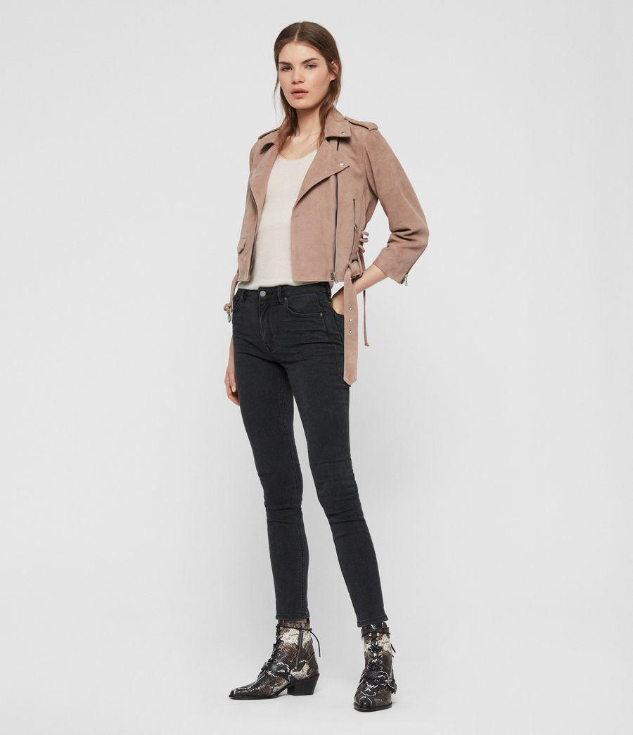 Womens Layla Suede Biker Jacket (fig_pink) - Image 3