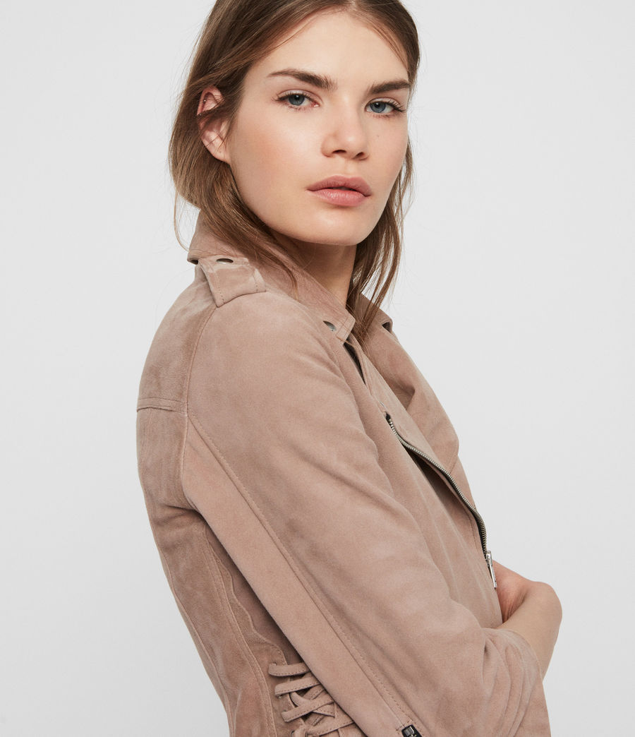 Womens Layla Suede Biker Jacket (fig_pink) - Image 4