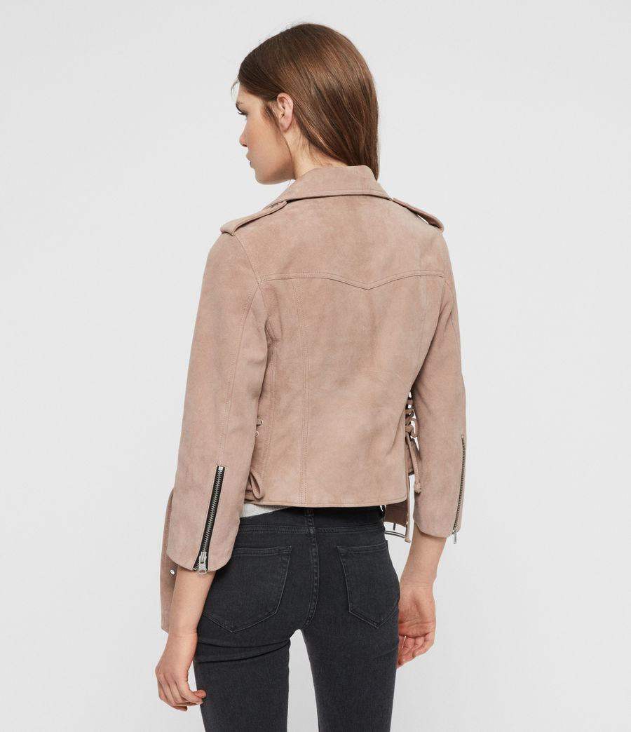 Womens Layla Suede Biker Jacket (fig_pink) - Image 6