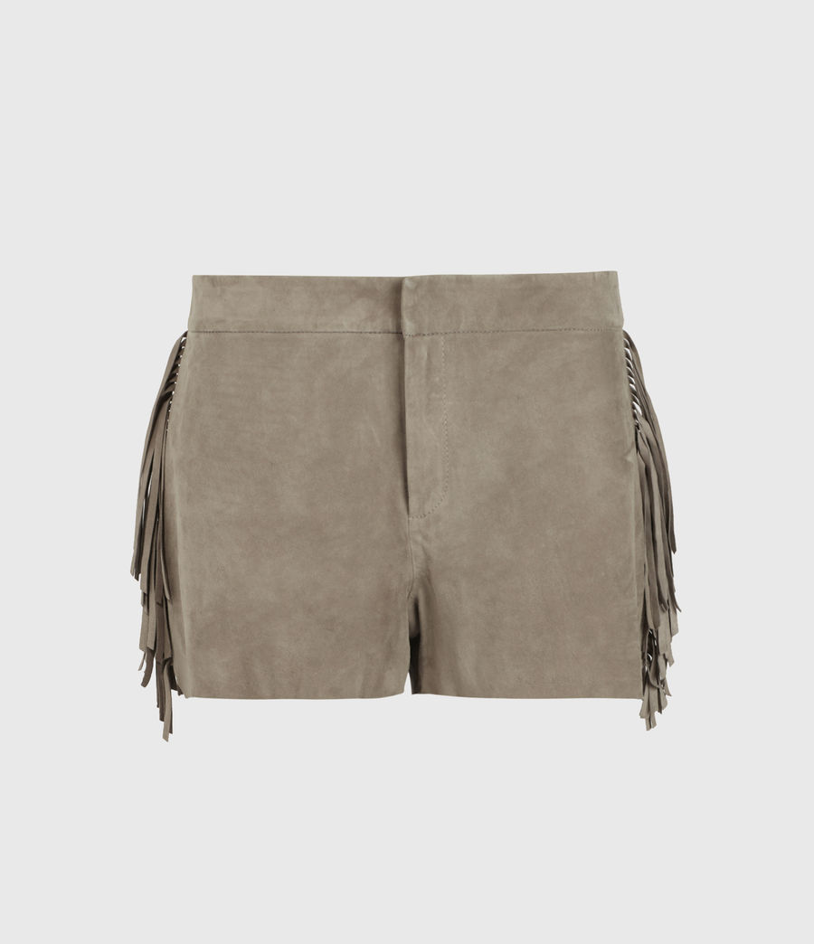 Women's Calix Tassel Suede Low-Rise Shorts (taupe_brown) - Image 1