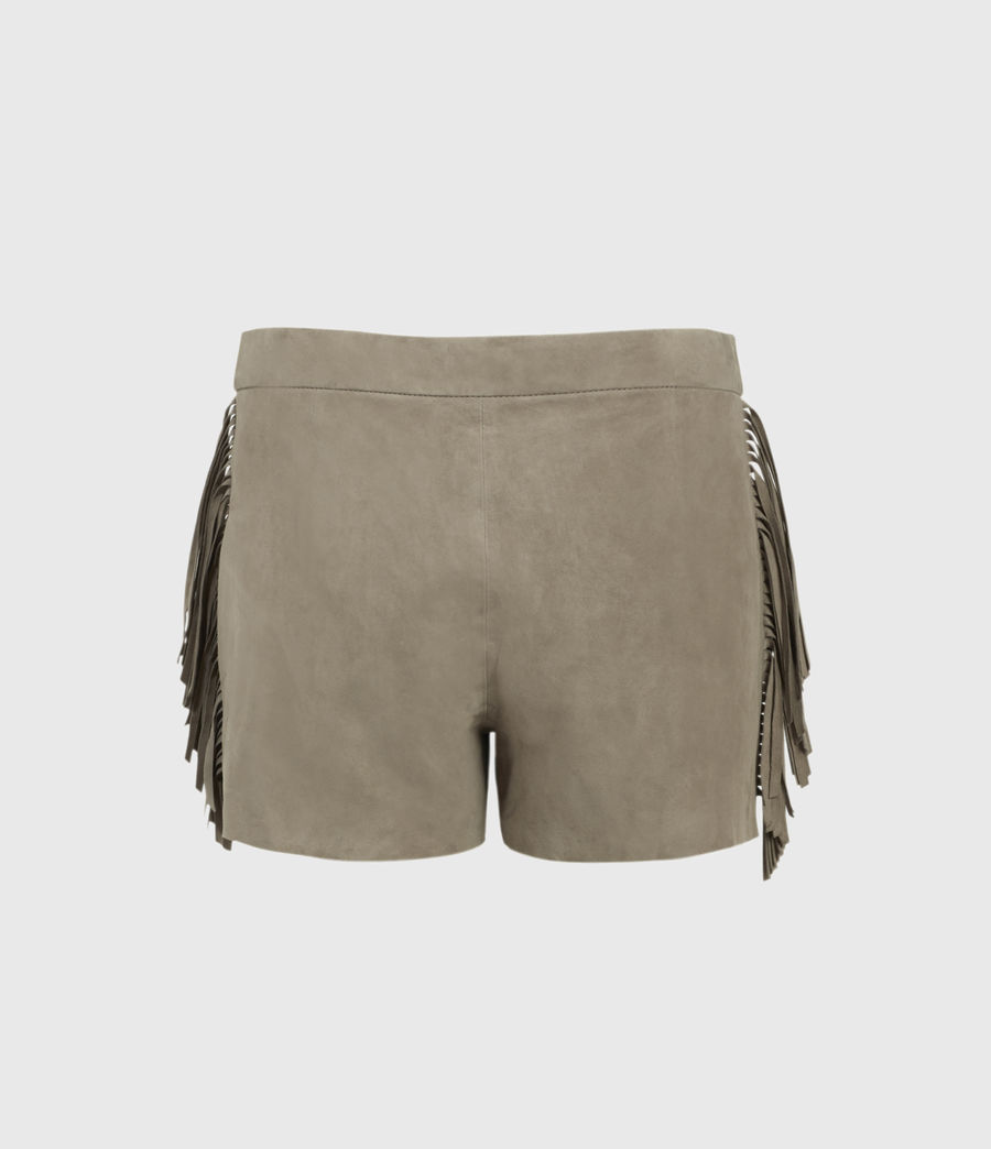 Women's Calix Tassel Suede Low-Rise Shorts (taupe_brown) - Image 2