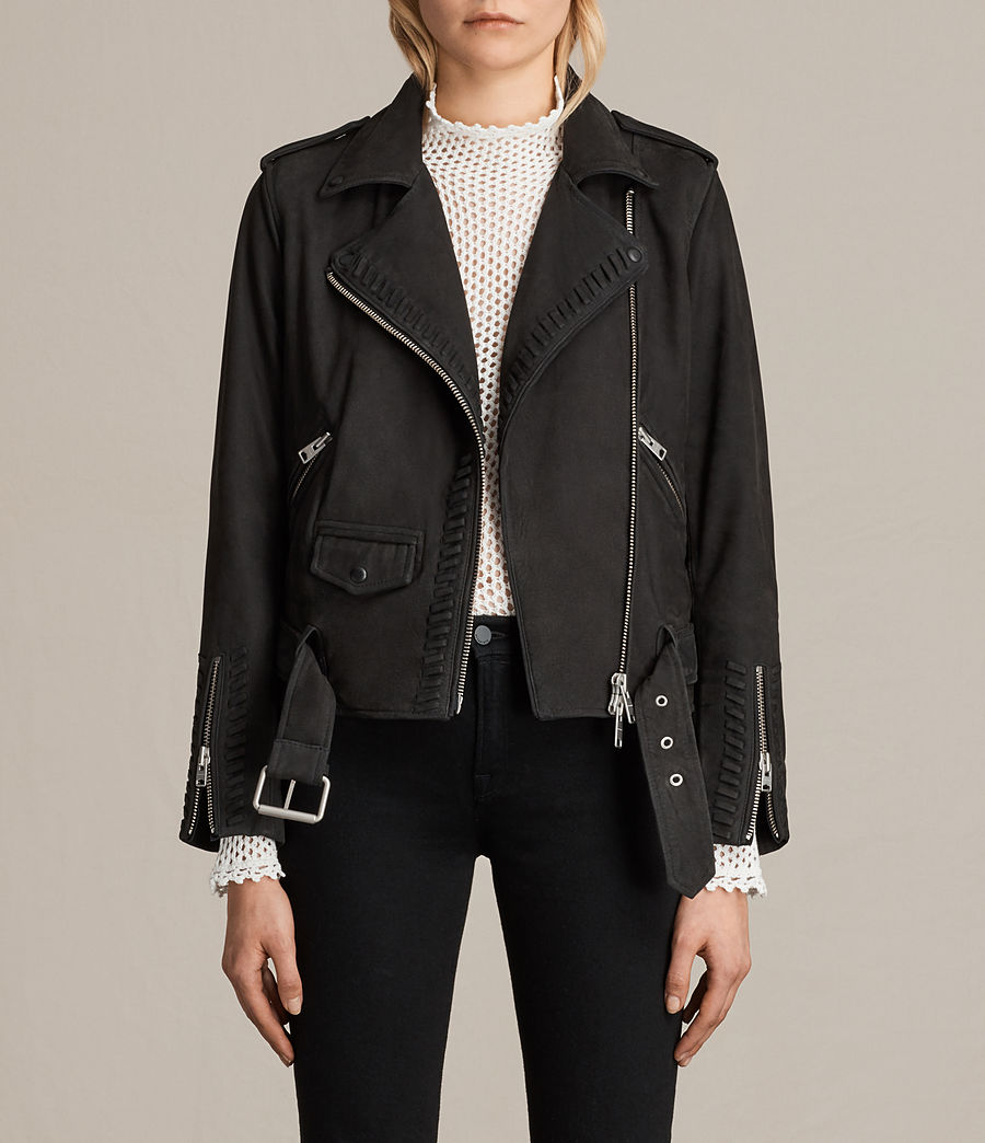 Womens Willow Nubuck Biker Jacket (black) - Image 1