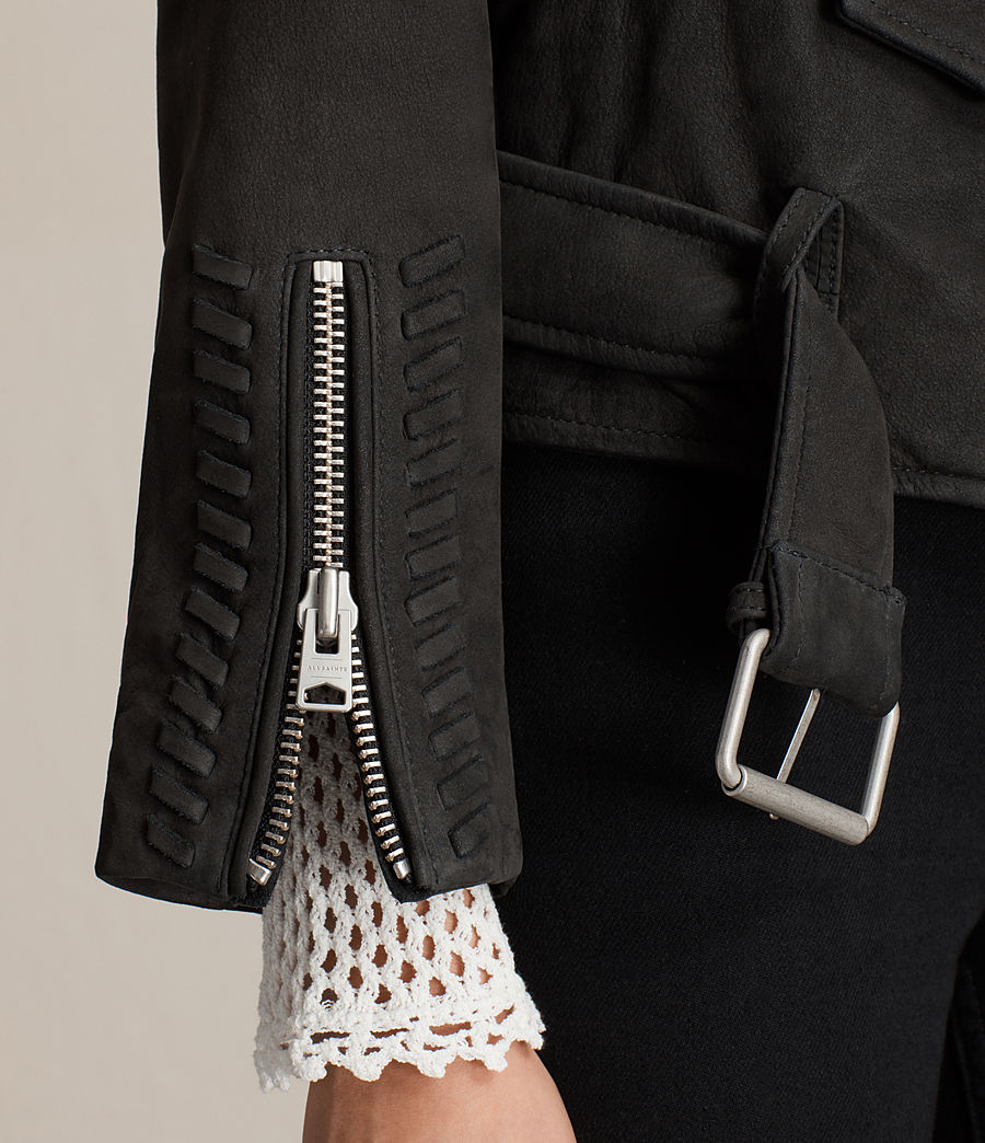 Womens Willow Nubuck Biker Jacket (black) - Image 2