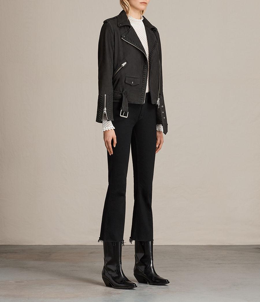Womens Willow Nubuck Biker Jacket (black) - Image 5