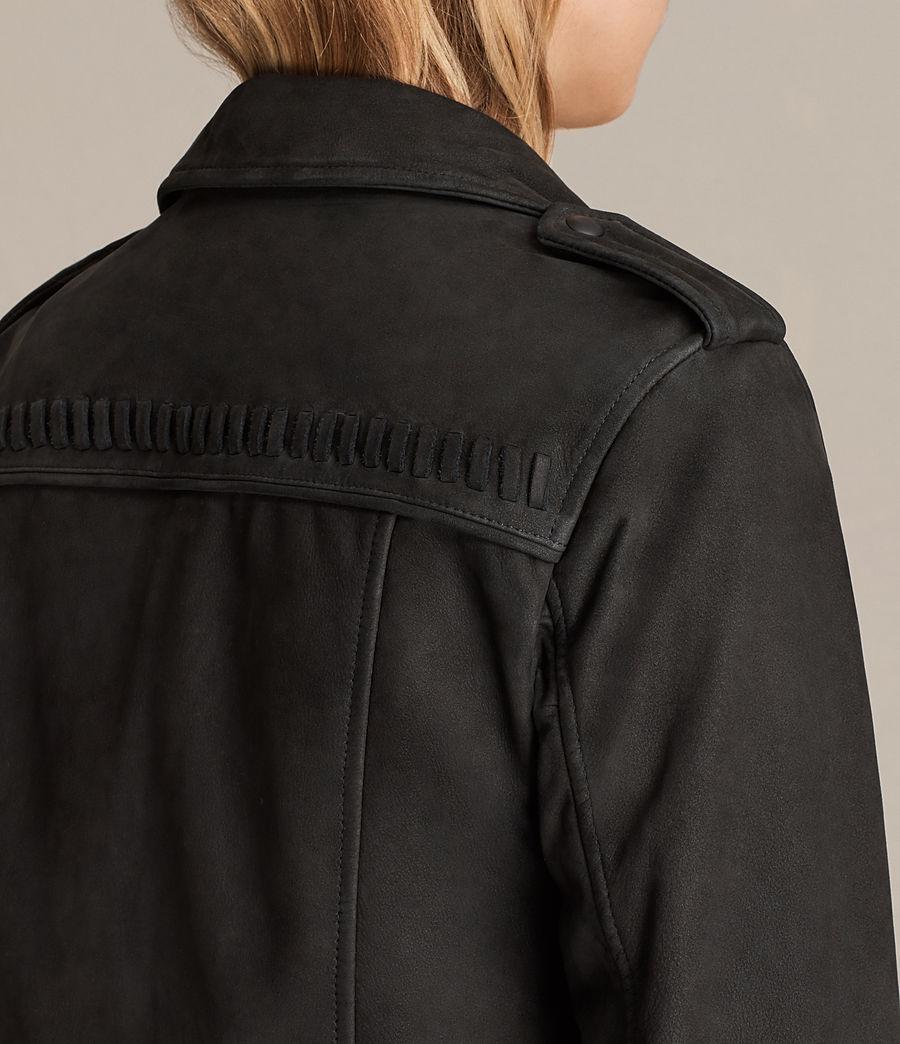 Womens Willow Nubuck Biker Jacket (black) - Image 6