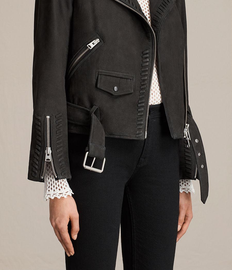 Womens Willow Nubuck Biker Jacket (black) - Image 7