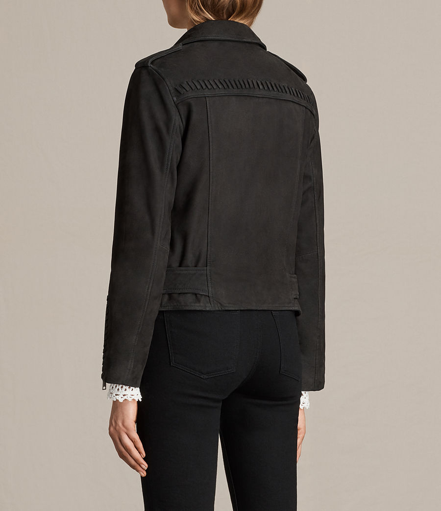 Womens Willow Nubuck Biker Jacket (black) - Image 8