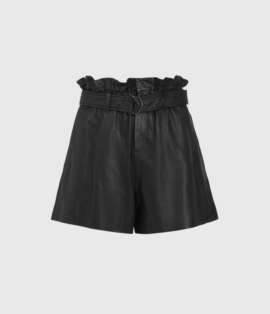 Womens Erica Leather Shorts (black) - Image 1