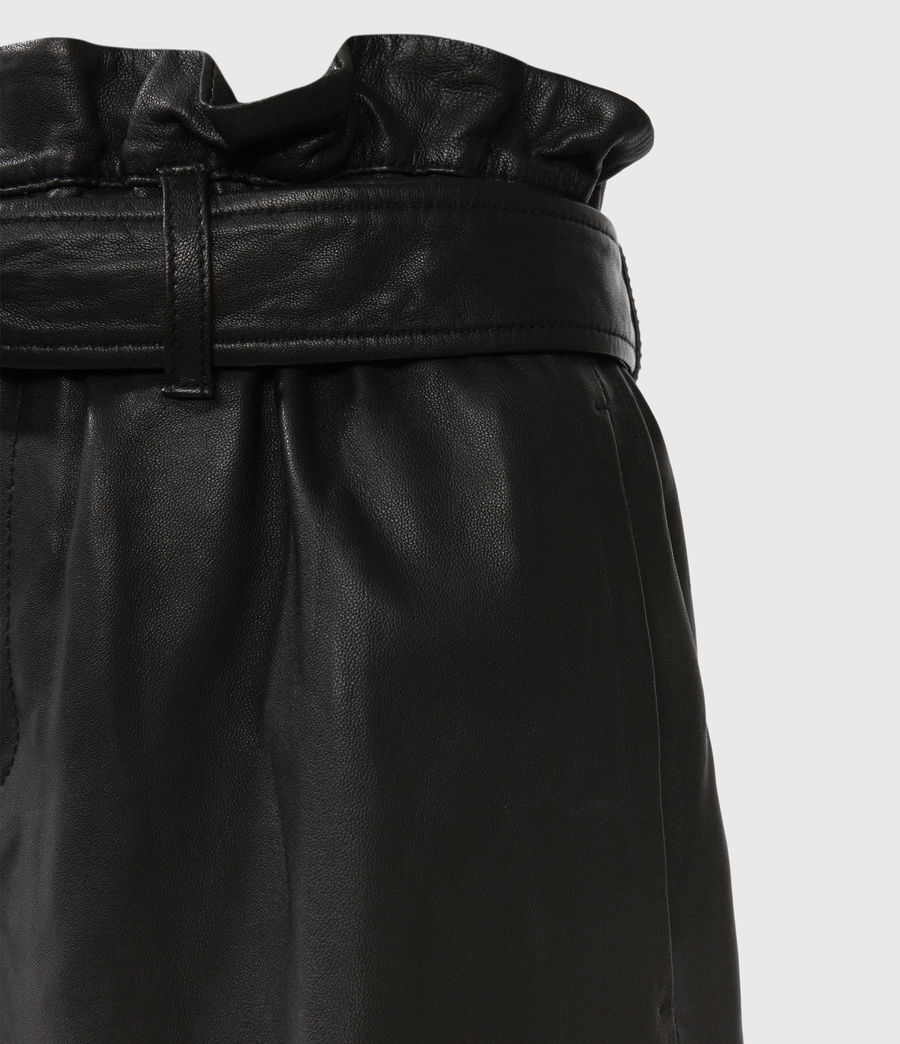 Womens Erica Leather Shorts (black) - Image 3