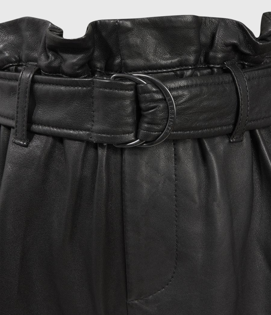 Womens Erica Leather Shorts (black) - Image 4