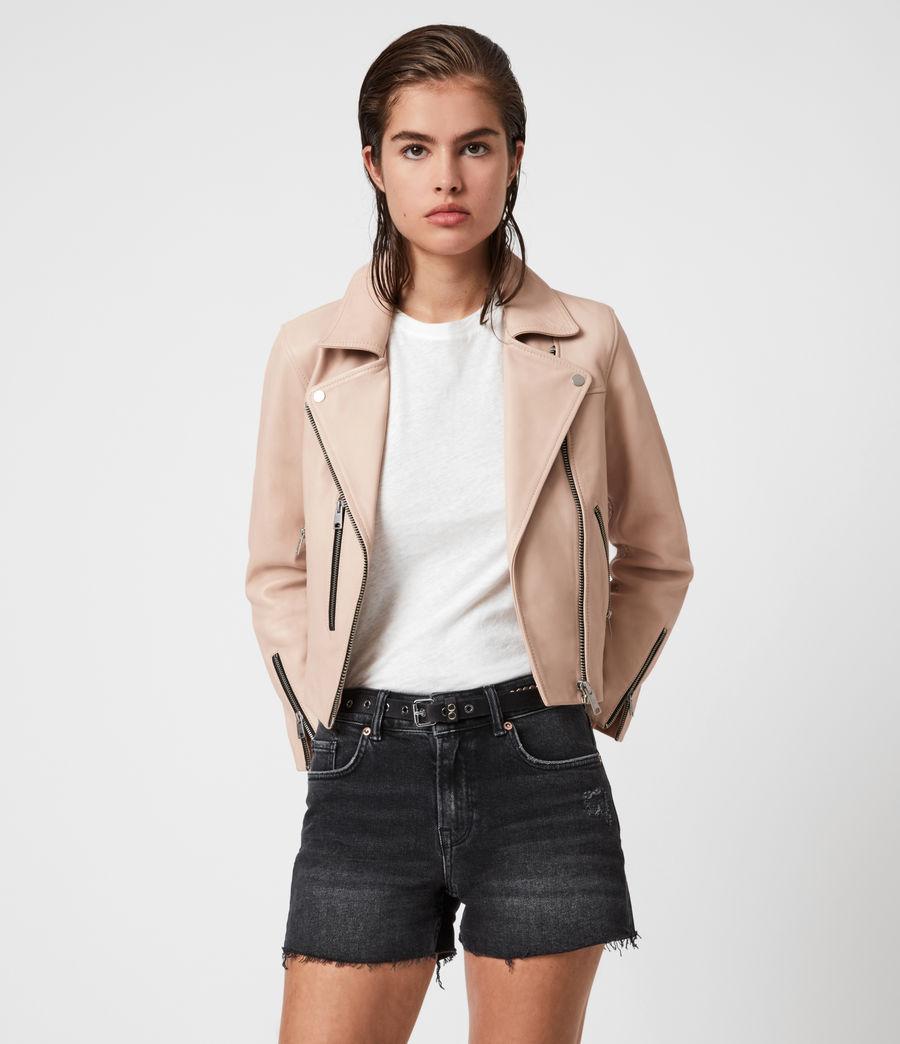 Womens Kassia Leather Biker Jacket (peony_pink) - Image 1