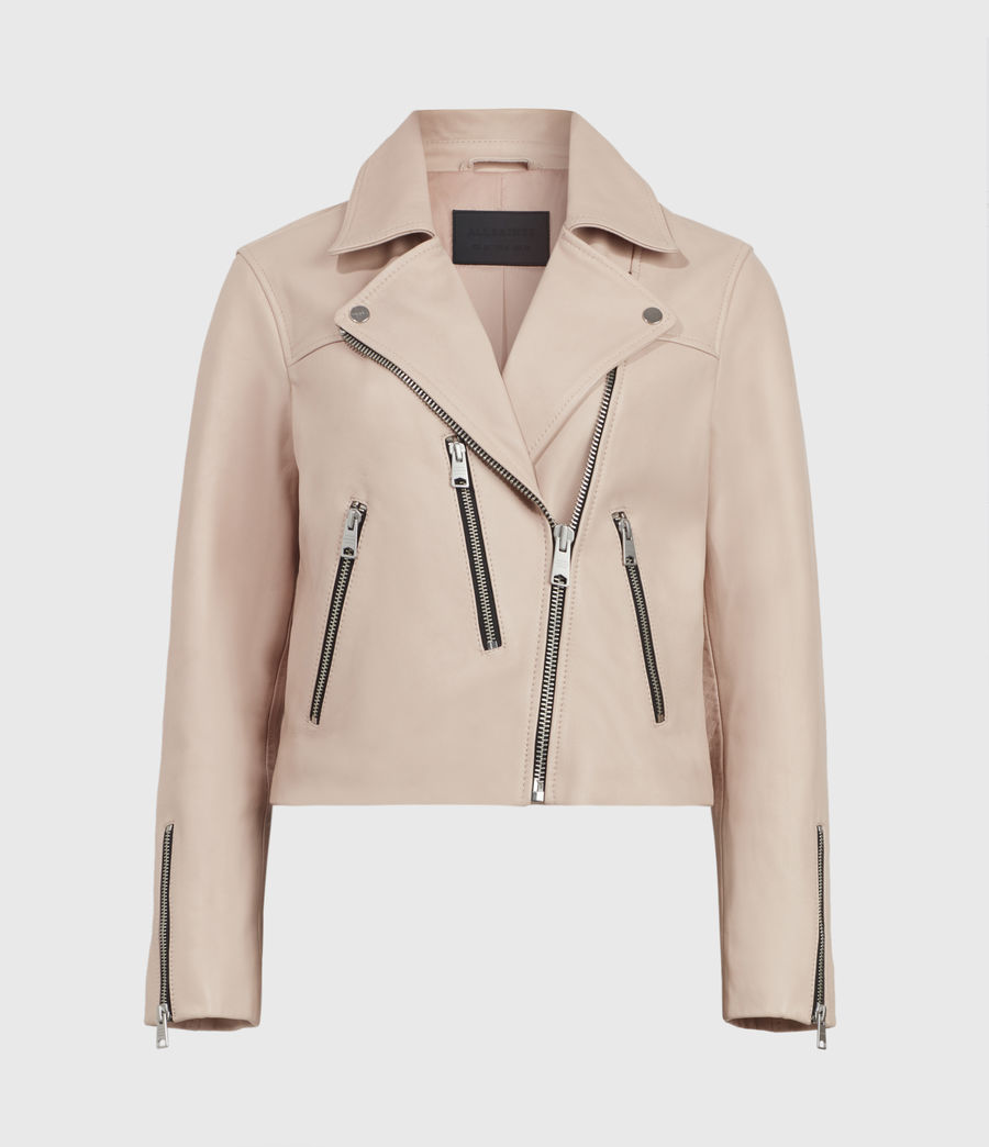 Womens Kassia Leather Biker Jacket (peony_pink) - Image 2