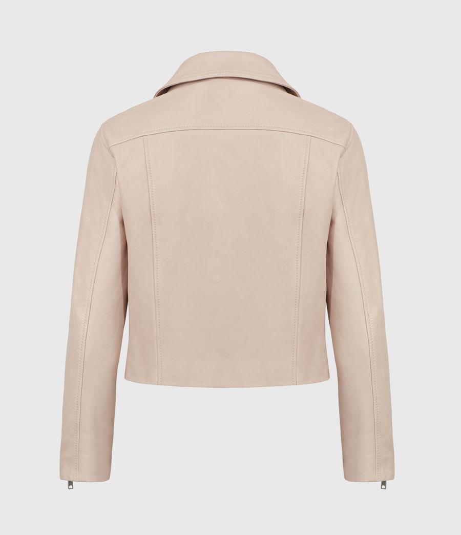 Women's Kassia Leather Biker Jacket (peony_pink) - Image 3