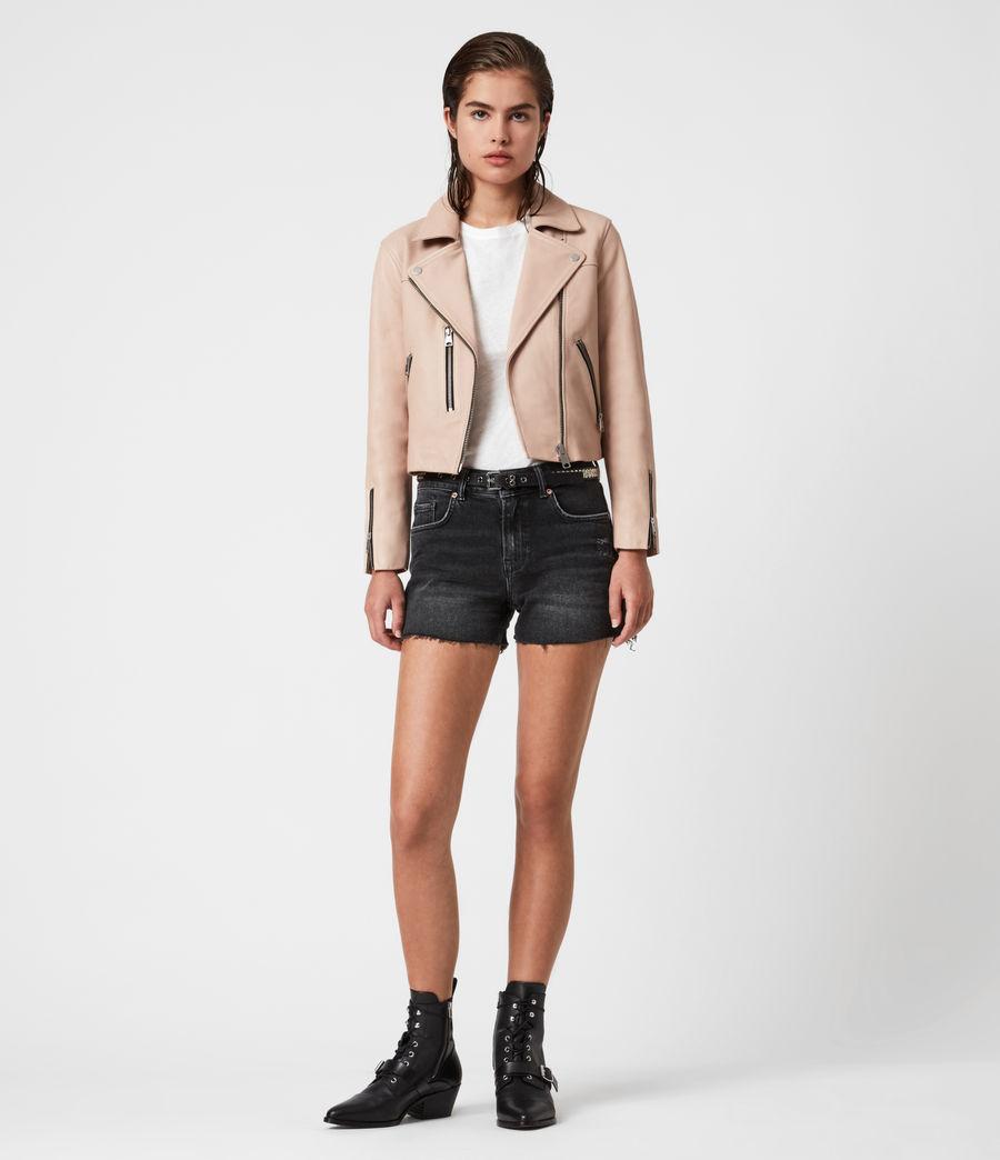 Women's Kassia Leather Biker Jacket (peony_pink) - Image 4