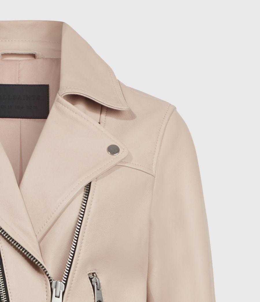 Women's Kassia Leather Biker Jacket (peony_pink) - Image 5
