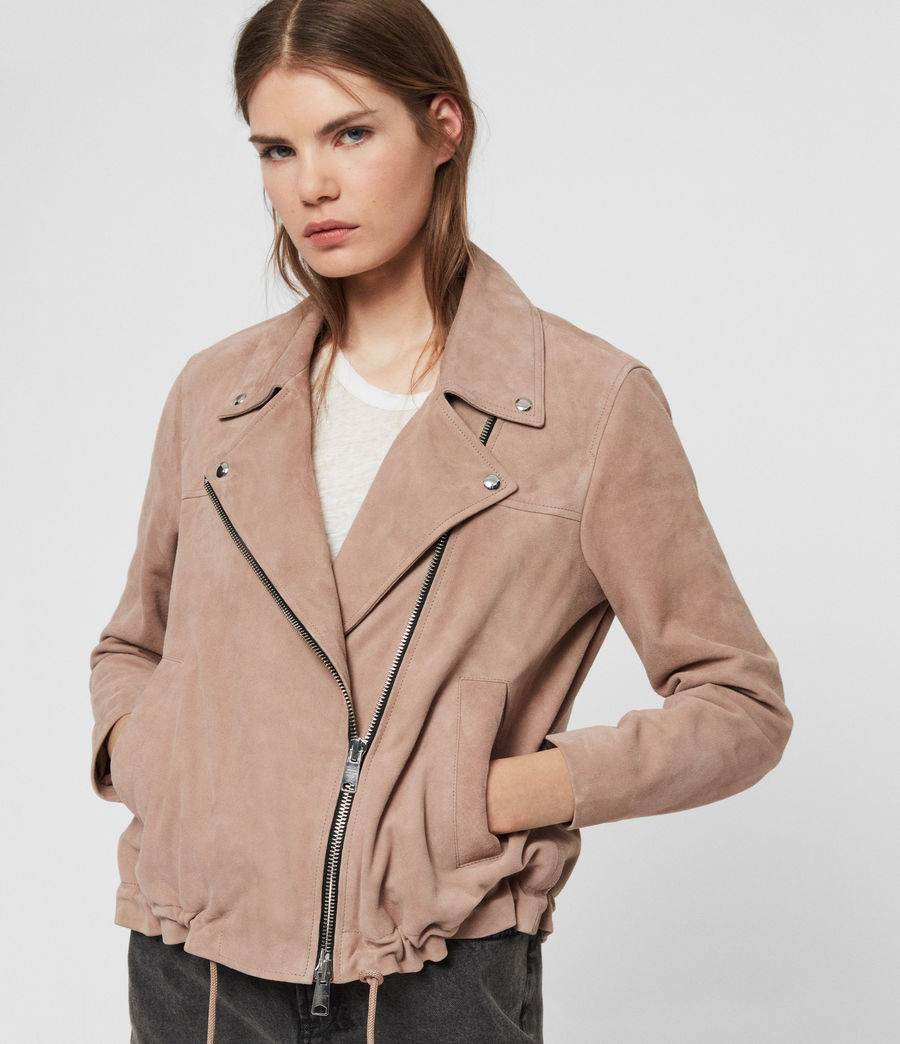 Womens Suede Macey Biker Jacket (fig_pink) - Image 1