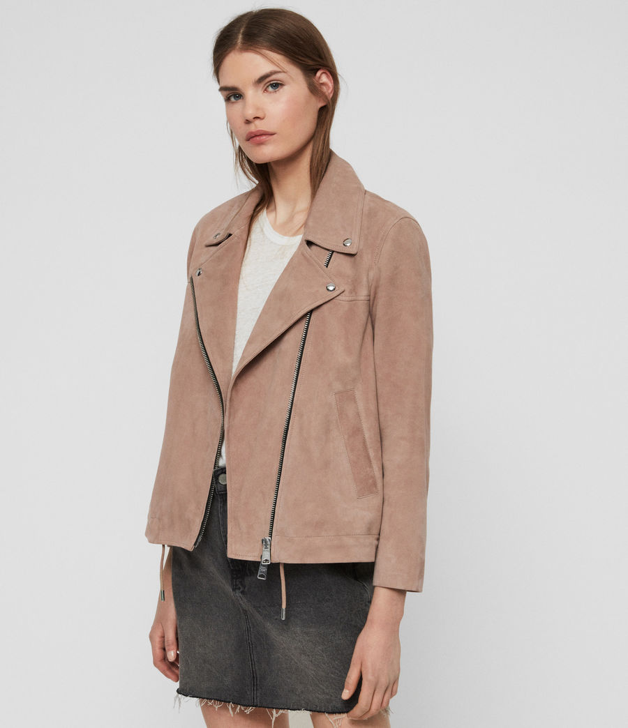 Womens Suede Macey Biker Jacket (fig_pink) - Image 2