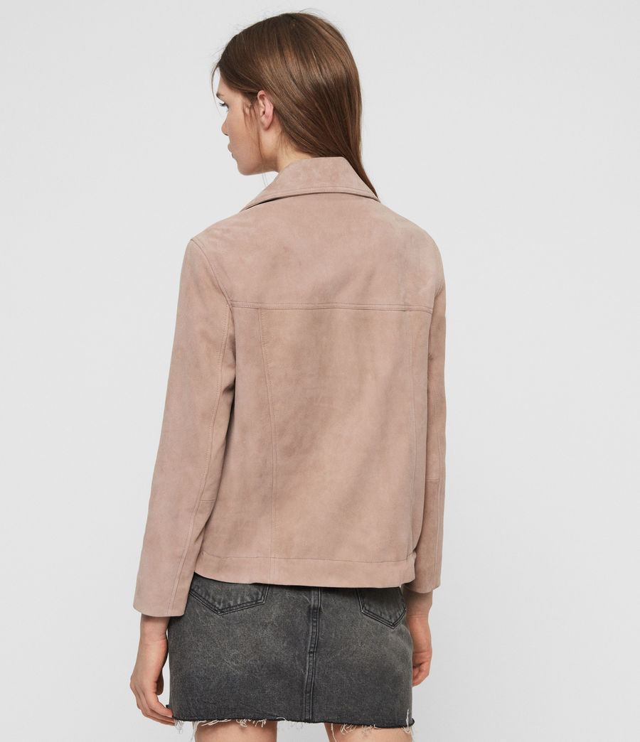 Womens Suede Macey Biker Jacket (fig_pink) - Image 5
